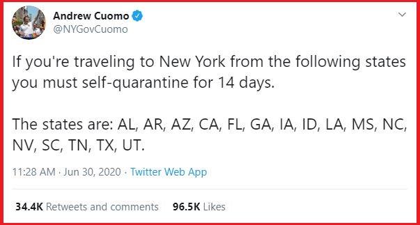 New York mandatory 14-day quarantine