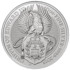 2018 10 oz Silver Queen's Beasts Griffin of Edward