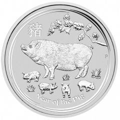 2019 Australian Lunar Year of the Pig Silver Coin 2 oz