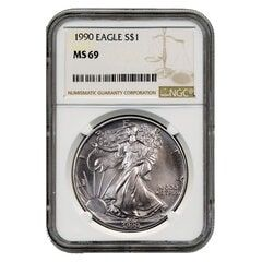 1990 NGC MS-69 American Silver Eagle Coin (Brown Label)