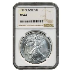 1992 NGC MS-69 American Silver Eagle Coin (Brown Label)