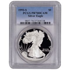 1992-S PCGS PR-70 American Silver Eagle Proof Coin