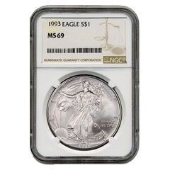 1993 NGC MS-69 American Silver Eagle Coin (Brown Label)
