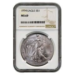 1994 NGC MS-69 American Silver Eagle Coin (Brown Label)