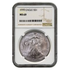 1995 NGC MS-69 American Silver Eagle Coin (Brown Label)