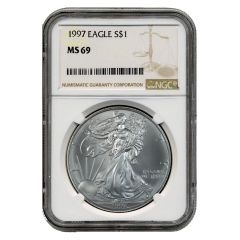 1997 NGC MS-69 American Silver Eagle Coin (Brown Label)