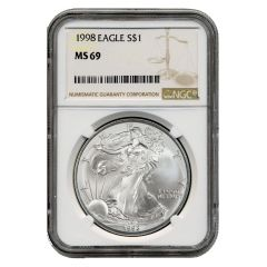 1998 NGC MS-69 American Silver Eagle Coin (Brown Label)