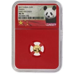 2017 1 Gram Chinese Gold Panda NGC MS-70 Early Release Red Core