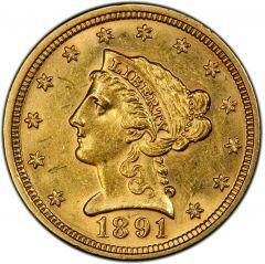 $2.50 Liberty Half Eagle Gold Coin (VF+) - Random Year