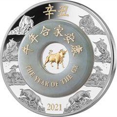 2021 2 oz Jade Lunar Year of the Ox Silver Coin