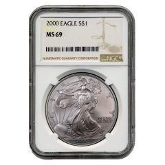 2000 NGC MS-69 American Silver Eagle Coin (Brown Label)