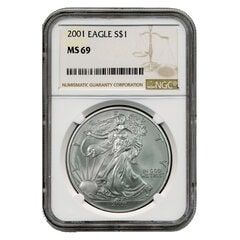 2001 NGC MS-69 American Silver Eagle Coin (Brown Label)