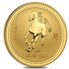 2002 1 oz Year of the Horse Gold Coin - Perth Mint Lunar Series I