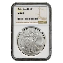 2003 NGC MS-69 American Silver Eagle Coin (Brown Label)