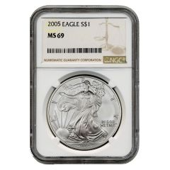 2005 NGC MS-69 American Silver Eagle Coin (Brown Label)
