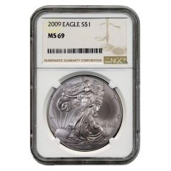 2009 NGC MS-69 American Silver Eagle Coin (Brown Label)