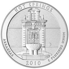 2010 Hot Springs 5 oz Burnished Silver Coin - America The Beautiful