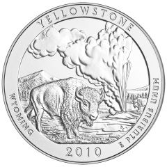 2010 Yellowstone Park 5 oz Burnished Silver Coin - America The Beautiful