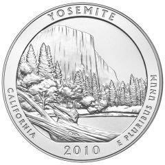 2010 Yosemite Park  5 oz Burnished Silver Coin - America The Beautiful