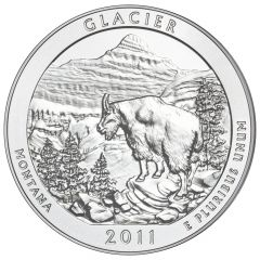 2011 Glacier 5 oz Burnished Silver Coin - America The Beautiful