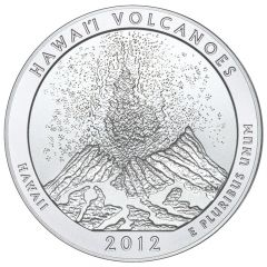 2012 Hawai'i Volcanoes 5 oz Burnished Silver Coin - America The Beautiful