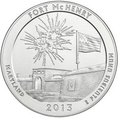 2013 Fort McHenry 5 oz Burnished Silver Coin - America The Beautiful