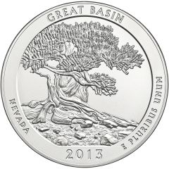 2013 Great Basin National Park 5 oz Burnished Silver Coin - America The Beautiful