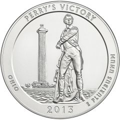 2013 Perry's Victory 5 oz Burnished Silver Coin - America The Beautiful
