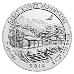 2014 Silver 5 oz Great Smoky Mountain America The Beautiful