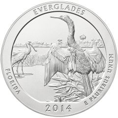 2014 Everglades Park 5 oz Burnished Silver Coin - America The Beautiful