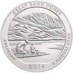 2014 Great Sand Dunes 5 oz Burnished Silver Coin - America The Beautiful