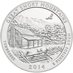 2014 Great Smoky Mountain 5 oz Burnished Silver Coin - America The Beautiful