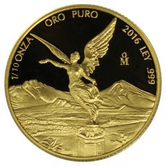 2016 Mexican Gold Libertad Proof Coin 1/10 oz
