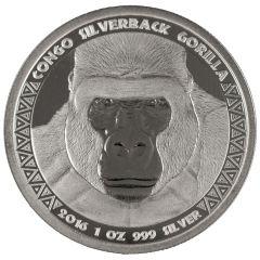2016 Congo Silverback Gorilla Silver Coin 1 oz