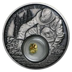 2016 Niue California Gold Rush Silver Coin - Antique Finish - 24k Gold Nugget