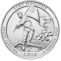 2016 5 oz Fort Moultrie Silver Coin - America The Beautiful