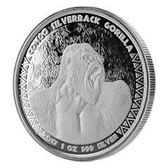 2017 Congo Silverback Gorilla Silver Coin 1 oz