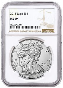 2018 NGC MS-69 American Silver Eagle Coin (Brown Label)