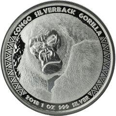 2018 Congo Silverback Gorilla Silver Coin 1 oz