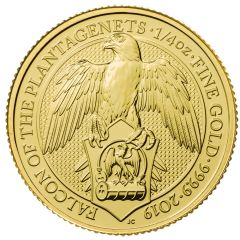 2019 1/4 oz Queen's Beasts Falcon of the Plantagenets Gold Coin