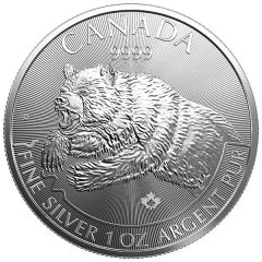 2019 1 oz Silver Grizzly Coin - RCM Predator Series Fourth Release