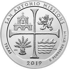 2019 San Antonio Missions 5 oz Silver Coin - America The Beautiful