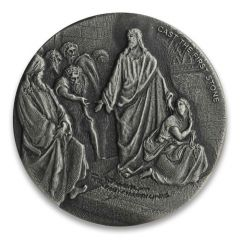 2019 2 oz Cast the First Stone Silver Coin - Biblical Series