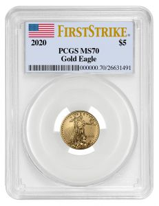 2020 1/10 oz PCGS MS-70 FS American Gold Eagle Coin