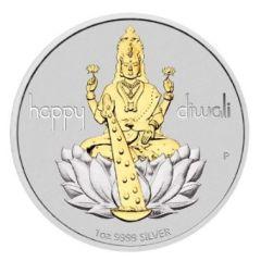2020 1 oz Perth Silver Diwali Gilded Medallion
