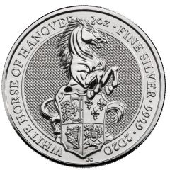 2020 2 oz Queen's Beasts White Horse of Hanover Silver Coin