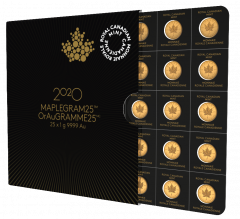 2020 25x1 Gram Canadian Gold Maplegram25™ Coin Sheet - in Assay
