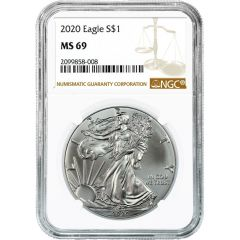 2020 NGC MS-69 American Silver Eagle Coin (Brown Label)