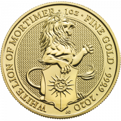 2020 1 oz Queen's Beasts White Lion of Mortimer Gold Coin