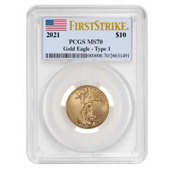 2021 1/4 oz PCGS MS-70 FS American Gold Eagle Coin